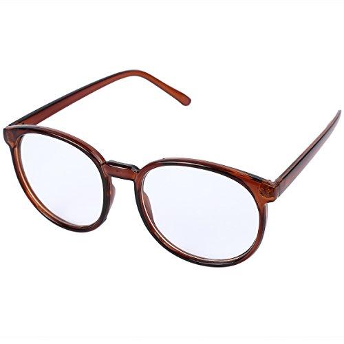 OUTEYE Retro Glasrahmen-Ebenenspiegel Dekobrille Nerdbrille Klassisches Rund Rahmen Glasses...