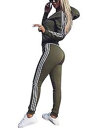 Tomwell Damen Mode Streifen Trainingsanzug Frauen Lange Ärmel Zipper Top + Lange Hose Sportswear 2 Stück Set Sport Yoga Outfit