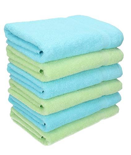 BETZ Lot de 6 Serviettes de Toilette Taille 50x100 cm 100% Coton Palermo Couleur Vert et Turquoise