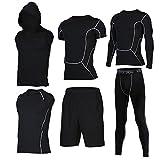 Showtime] Herren Fitness Anzug Set, Yoga, Laufen, Joggen, Gym Fitness Outfit Workout Sweatsuit Activewear (L, D- 5 Pieces)