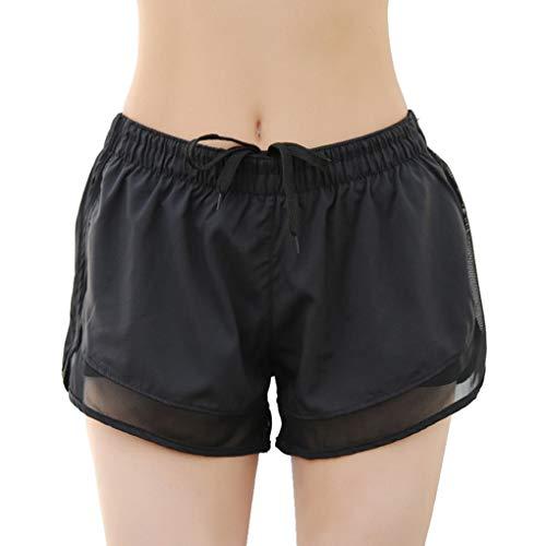 lindahaot Frauen-elastische Taillen-Yoga Sport-Fälschungs-2 Stück Athletisch Fitness Mesh Shorts (Shorts Frauen Athletisch)