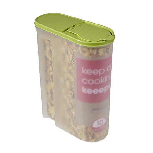keeeper Schüttdose für Trockenvorräte, Aufklappbarer Deckel, BPA-freier Kunststoff, 5 l, 24 x 11,5 x 30,5 cm, Jean, Grün