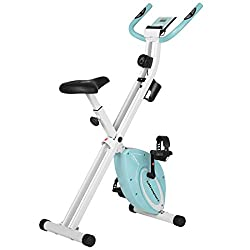 Ultrasport F-Bike Design, Fahrradtrainer, Heimtrainer, faltbares Fitnessbike mit Gelsattel, Flaschenhalter, LCD-Display, Handpulssensoren, kompakt und klappbar, belastbar bis 110 kg, Mint