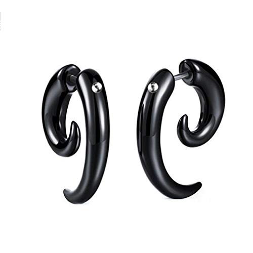 (DECJ Black Bull Horns Horns Hypoallergen Schnecke Ohrringe Ohrringe Lustige Alternative Halloween Schmuck Single Nur Je,8Mm)