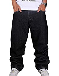 Pantalons Hommes Hip Hop Jeans Style Hipster Baggy Jeans Rap Denim Urbain  Skate Jeans Jambe Droite 7184a68c5e1
