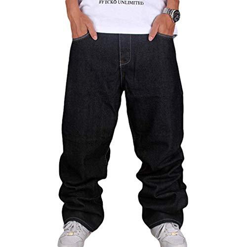 Männer Vintage Hip Hop Baggy Jeans Denim Street Dance Rochenhosen Straight Loose Fit Teenager Jungen Schwarz 34 Denim Baggy Jeans