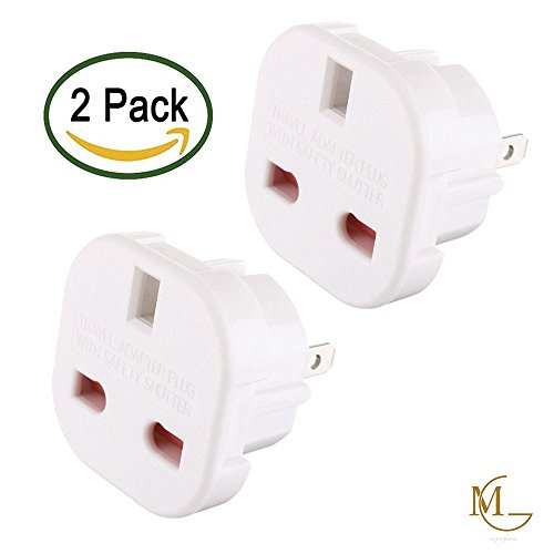 UK to USA Plug Adaptor, UK to US Travel Adapter Plug with Safety Shutter, (2 in a pack) White Adapter for USA, Canada, Mexico, Thailand etc - Refer to Description for country list, MG