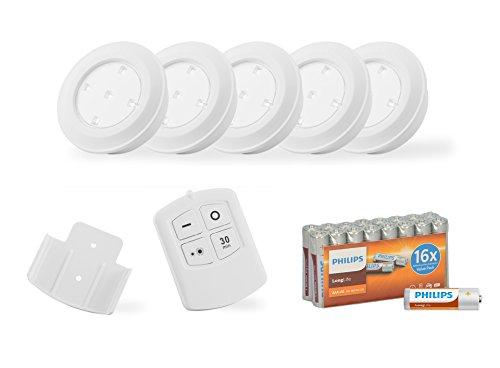Programmierbarer Timer Batterie (LED Unterbau-lechten mit Fernbedienung, Schrankleuchte batteriebetrieben Spots Dimbarr, Lampen set für Küche oder Schränke programmierbare Spots für Treppe, batteriebetriebenes, Kalt weiß, Leuchten Set mit Timer und Dimmfunktion (Weiß))