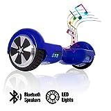 ACBK - Hover Auto-équilibré avec Roues de 6.5' (Bluetooth + Lumières LED) Vitesse Maximum: 10-12 km/h - Autonomie: 10-20 km (Bleu)