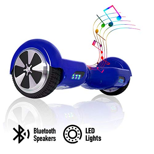 acbk - patinete eléctrico hover autoequilibrio con ruedas de 6.5 (altavoces bluetooth + luces led integradas) velocidad máxima: 10-12 km/h - autonomía 10-20 km (azul)