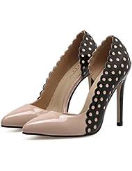 Damen Pump Shallow Spitz Zehe High Heel D'orsay Leder Stiletto Hollow Nude Schuhe Sling Rücken Hochzeit Schuhe