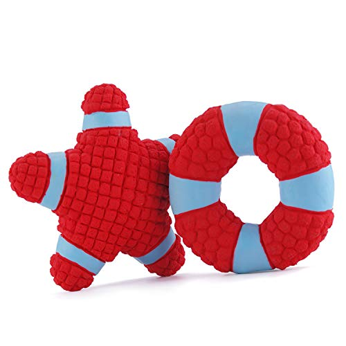 EETOYS Hundespielzeug aus Latex Quietschspielzeug Ball für Hunde, L Rot Seestern & Ring (Hund-ball Rote)