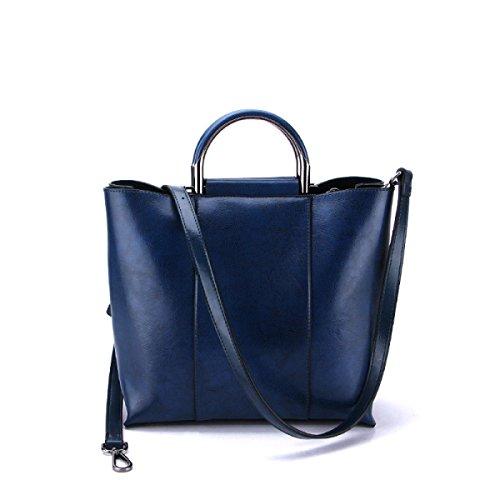 GSHGA Nouvelle Grande Capacité De Mode Véritable Sacs À Main En Cuir Sacs Diagonaux Top-Poignée Sacs Totes,Blue
