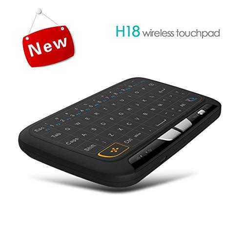 IOIOA Tragbare Bluetooth-Tastatur, H18 wiederaufladbare Lithium-Ionen-Touchpad-Tastatur Mini H18 Wireless Air Fly Mouse 2.4G tragbare Tastatur Fernbedienung -