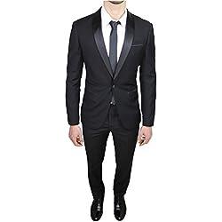 Abito completo uomo sartoriale nero elegante raso nuovo slim fit aderente (50)