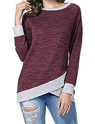Odosalii Damen Langarm Patchwork Sweatshirt Pullover Casual T-Shirt Asymmetrisch Saum Tunika Tops (Small, A_ weinrot)