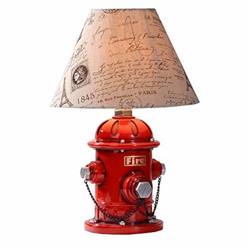 OOFAY Lights Hydrant Tischlampe, Moderne Kreative E27 Dekor Tischleuchte Mit Stoff Schatten Für Schlafzimmer Nachttisch Schreibtisch Kinder 220V Max.60W -