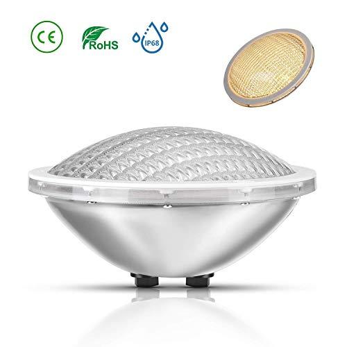 LyLmLe LED Poolbeleuchtung PAR56,20W Schwimmbad Led Leuchtmittel,12V AC/DC IP68 LED Unterwasserscheinwerfer Wasserdicht für ersetzen Halogen Spot(Warmweiß)