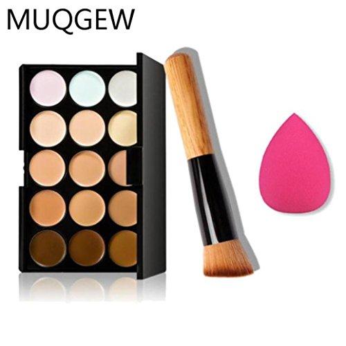 LMMVP Maquillage Dégagement 15 Couleurs Concealer Palette de Contour + Eau Eponge Feuilletée + Pinceau de Maquillage (17 * 2 * 2cm, Multicolore)