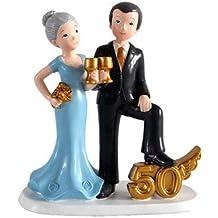 DISOK - Figura Pastel 50 Aniversario Copas - Figuras Aniversarios Bodas de Oro Baratas
