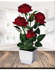 Hyperboles Artificial Red Roses Bonsai Flowers with Pot(30cm)
