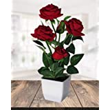 Hyperboles Artificial Red Roses Bonsai Flowers with Pot(30cm)