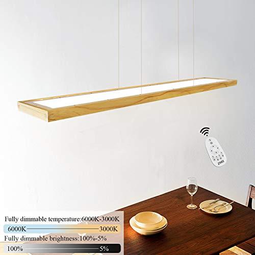 ZMH LED Hängeleuchte esstisch Pendelleuchte Holz rustikal dimmbar 35W mit den Fernbedienung pendellampe höhenverstellbar Hängelampe esszimmer, Arbeitszimmer, Wohnzimmer, Küche