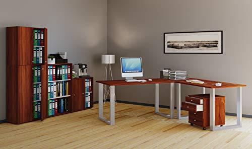 VCM Eckschreibtisch, Schreibtisch, Büromöbel, Computertisch, Winkeltisch, Tisch, Büro, Lona 190x160x80: Kern-Nussbaum -