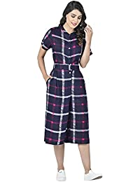 Martini Women Blue Pink Check Calf Length Jumpsuit