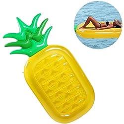 HEQUN Flotador Gigante de Piña con la fiesta Gigante Flotador Inflable Balsa Cama Flotante de la piscina al aire libre de verano de las válvulas rápidas para los adultos y los cabritos (180x90 cm, Piña)