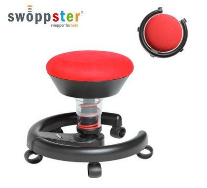 AERIS Impulsmöbel Kinderstuhl Rollhocker SWOPPSTER Microvelours cherry-red