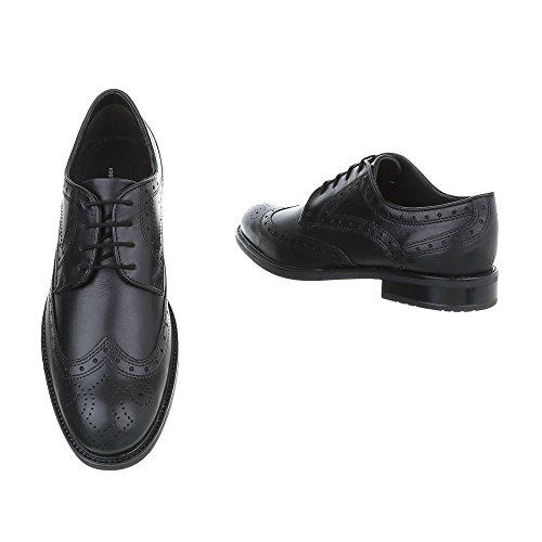 Budapester Stil Leder Herrenschuhe Oxford Blockabsatz Schnürer Schnürsenkel Ital-Design Business-Schuhe Schwarz