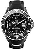 ICE-Watch - SR.3H.BKW.BB.S.15 - Ice Sporty - Black & White - Montre Homme - Quartz Analogique - Cadran Noir - Bracelet Silicone Noir