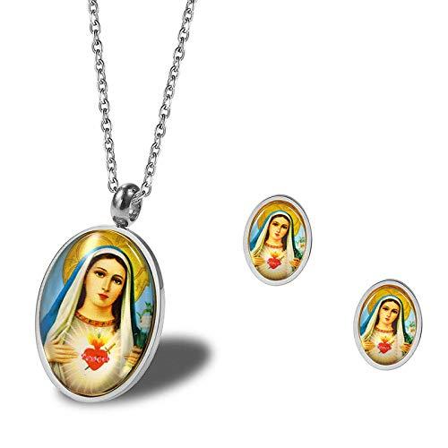 Daesar Conjunto Mujer Virgen María Conjuntos de Joyas para Mujer Pendientes y Collar Plata