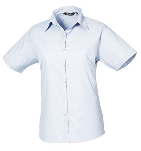 Femmes Chemisier en popeline à manches courtes chemise pour femme Coloris uni Bleu - Bleu clair