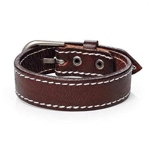 Fygrend - Mode Cuff Männer Leder Armband Adjustable Handgemachte männlich Schmuck Schwarz und Braun Farbe [Brown] (Braun Lieferung Mann Kostüm)