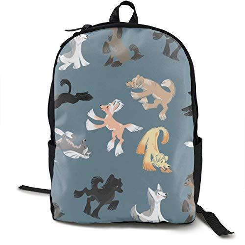 Chinese Crested Rucksack mit Seitentaschen Reise- und Campingrucksack Schultertasche mit großer Kapazität Mehrzweck-Diebstahlschutz-Umhängetasche -