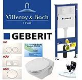 Geberit Duofix Vorwandelement Wand Wc-Set + V&B WC Omnia Classic + Drückerplatte