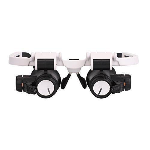 Lupe mit 2 LED-Lichtern zum freihändigen Vergrößern von Kopfband, Doppelaugenbrille, tragbar, verstellbar, 8 x 15 x 23 x zum Lesen, für Schmucklupe, Reparatur