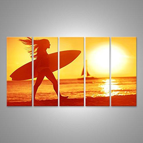 bild-bilder-auf-leinwand-xxl-bild-poster-leinwandbild-wandbilder-kunstdruck-5-teilig-agn-5p-surfer-g