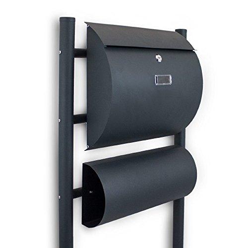 BITUXX® Standbriefkasten Briefkasten Postkasten Mailbox Letterbox Briefkastenanlage mit seperaten Zeitungsfach Dunkelgrau Anthrazit