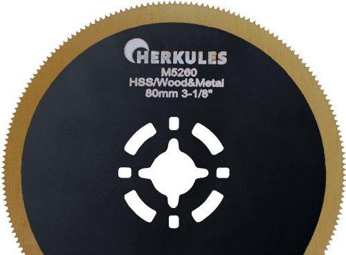 Herkules M5260 Lame de scie segment HSS M42 titane avec revêtement nitrure pour ponceuse multifonction sur bois, plastique, aluminium, tôle d'acier, métaux non ferreux Ø 80 x 0,8 mm 18 dpp