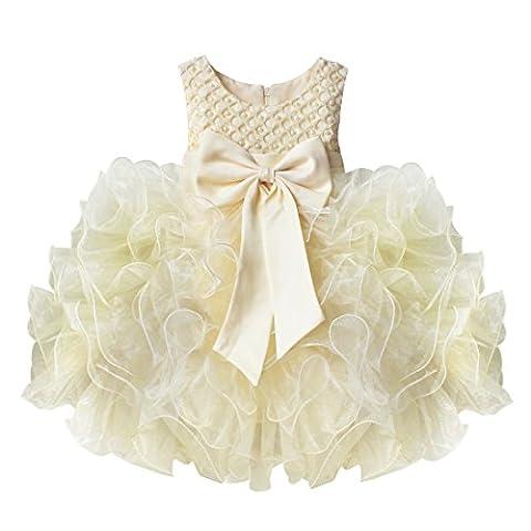 iEFiEL Infant Baby Girls Beading Bodice Bowknot Wedding Birthday Party Christening Princess Tutu Dress Beige 12-18 Months