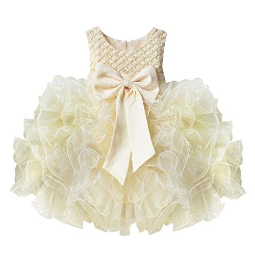 iEFiEL Vestidos de Princesa Elegante para Bébes y Niñas de Bautizo de Fiesta Varios Colores Beige 12-18 meses