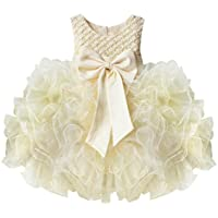 iiniim Bambina Principessa Perline Corpetto abito fascia con grande fiocco partito matrimonio Pageant Comunione (Costumi Birthday Party Dress)