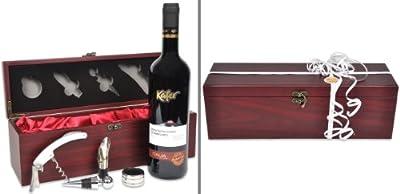 handverpacktes Weingeschenke Set Rendezvous mit italienischem Rotwein plus Kellnermesser in Holzbox