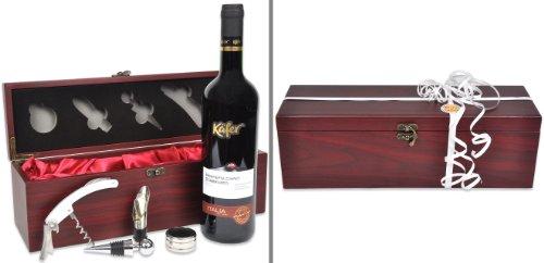 Handverpacktes Wein-Geschenkset Rendezvous mit italienischem Rotwein plus Kellnermesser in edler Holzbox