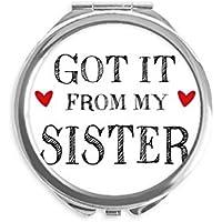 DIYthinker Para mi familia que recibió de mi hermana Presente espejo redondo portable de la mano