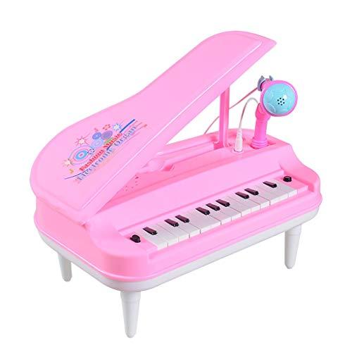Luccase ABS Kinder 24 Tasten Klaviertastatur Spielzeug mit Einstellbares Mikrofon Karaoke und 14 Demo-Songs LED-Leuchten Multifunktionale Kindermusik Elektronisches Spielzeug, 32x22x9cm (Rosa)