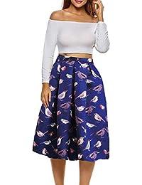 Afibi African Print Faldas Mujer Boho Plus Size Flare Faldas Plisadas 6f577d4ba18e